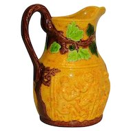 Majolica Yellow Grape Vine  Pitcher