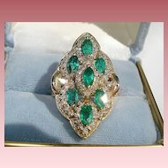 14K Yellow Gold, 2.66cts. Emeralds and 1.65cts. Diamond Ring