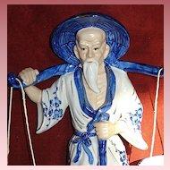 Porcelain/24k Gold Asian Man Figurine