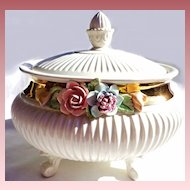 Vintage Italian Porcelain Footed Bowl/ Tureen with Applied Flowers