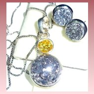 Sparkling Pyrite Titanium Sterling Earring & Necklace Set