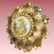 2 Vintage Pins/Golden Wheel of Serenade Brooch