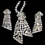 Vintage Bow Tie Rhinestone Necklace/Earring Set
