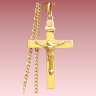 Vintage 14 K Gold Jesus Cross: Solid Gold with a 16 Inch 12 K Gold Chain