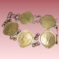 India King George VI Real Coin/Bracelet--1944