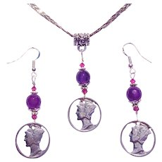 1941 Mercury Dimes, Amethyst, Sterling Silver, Necklace and Earring Set