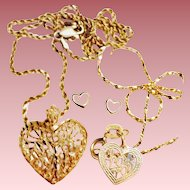 Vintage 14K Solid Gold, Diamond Cut Heart Necklace/Earrings/Bracelet