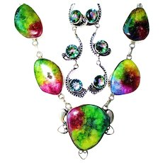 Rainbow Colored Agate Druzy Necklace/Mystic Topaz Earrings