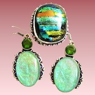 Dichroic Glass/Ring/Earring Set