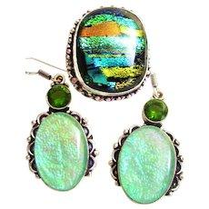 Dichroic Glass/Ring/Earring Set