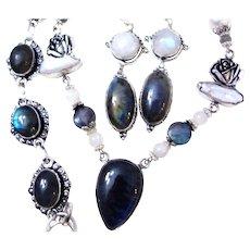 3-Piece Labradorite/Pearl/Moonstone/Sterling Set