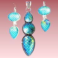 "Turquoise ""Fish Scale"" Necklace/Earring Set"