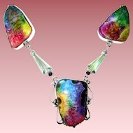 Rainbow Colored Agate Druzy Necklace