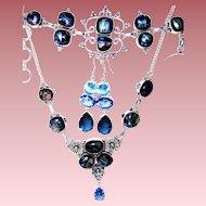Aqua Dichroic Glass Necklace/Bracelet/Earring Set