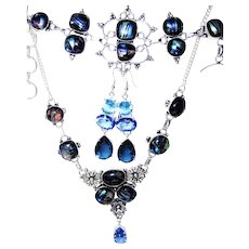 Aqua Dichroic Glass Necklace/Bracelet/Earring Set