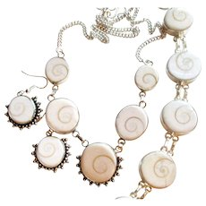 Natural Shiva Shell Necklace/Bracelet/Earring Set