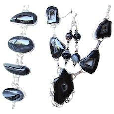 Striped Botswana Agate Druzy Necklace/Bracelet/Earring Set