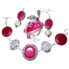 Ruby Red Agate Druzy Necklace/Bracelet/Earring Set