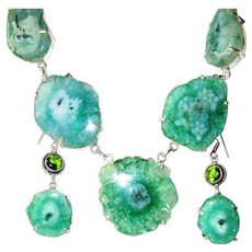 Green/Teal Solar Quartz/Druzy Necklace/Earrings Set