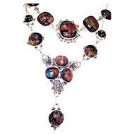 Dichroic glass Necklace/Bracelet Set