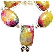 Bright Colored Agate Druzy Necklace