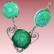 Sparkling Teal Green Solar Quartz Druzy Necklace/Earring Set