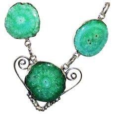 Sparkling Teal Green Solar Quartz Druzy Necklace/Earring Set