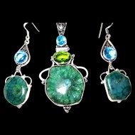 Green Solar Quartz Druzy Pendant/Earrings