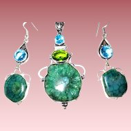 Green Solar Quartz Druzy Pendant/Earrings