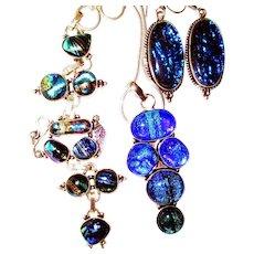 Royal Blue Dichroic Glass Set-3 Piece