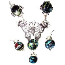 Dichroic Glass Butterfly Necklace/Earrings