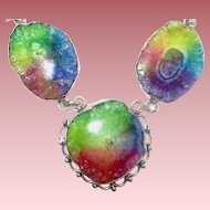 Bright Rainbow Colored Druzy Necklace