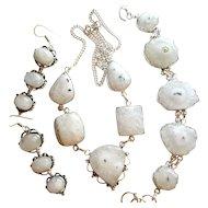 Natural Solar Quartz Necklace/Bracelet/Moonstone Earrings