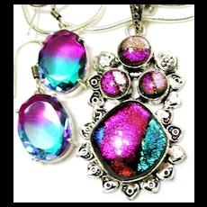 Dichroic Glass Pendant/Earrings/Sterling Chain