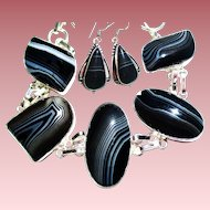 Black/White/Striped Onyx/Earrings/Bracelet
