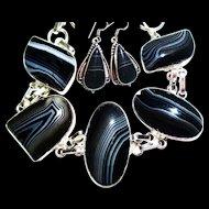 Black/White/Striped Onyx/Earrings/Bracelet