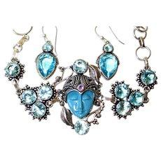 Blue Face Goddess/Crystal/Marcasite Bracelet/Earrings