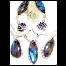Labradorite/Biwa Pearl/Rose/Sterling Necklace/Earring Set