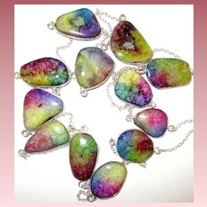 Stunning 12 Colorful Druzy Necklace/Earrings