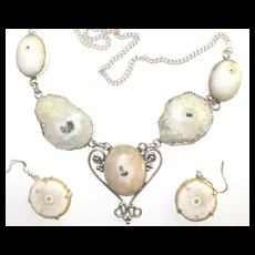 Natural Solar Quartz Necklace/Earrings Set