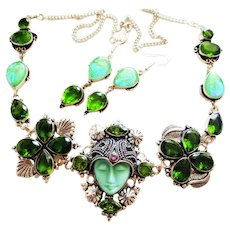 Green Carved Face Goddess/Crystals/Marcasite Necklace/Earrings