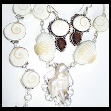 3-Pc.Shiva Shell/Mabe Pearl/Bracelet/ Necklace/Earring Set