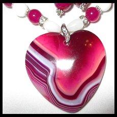 Striped Botswana Agate Heart Necklace/Earring Set