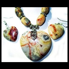 Crazy Lace Agate Heart Necklace/Earrings