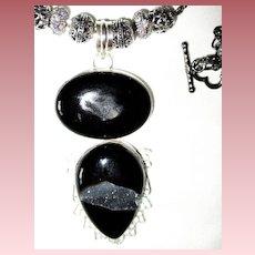 Double Agate Druzy Pendant/Chain