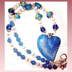 Blue Striped Botswana Heart Necklace/Opalite/Lampwork Beads