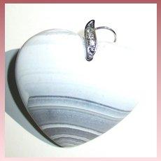 Blue/White Agate Heart Pendant