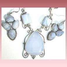 Blue Crazy Lace Agate Necklace/Earring Set