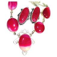 Fuchsia Botswana Agate Necklace/Earring Set