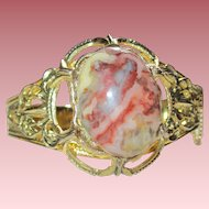 Vintage Goldtone Bracelet with Crazy Lace Agate Cabochon